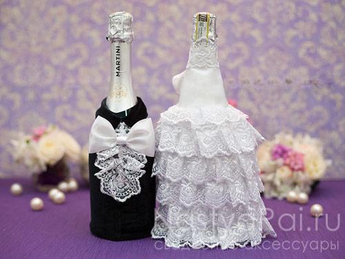 Наряд для свадебного шампанского своими руками